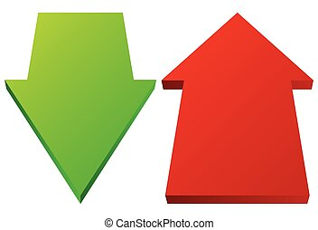 Set of 3d up down arrows in perspective. Green, red arrows.