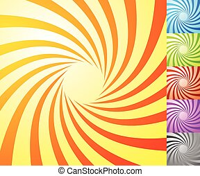 Spiral starburst, sunburst background set. Lines, stripes with twirl, rotating distortion effect. 5 colors.