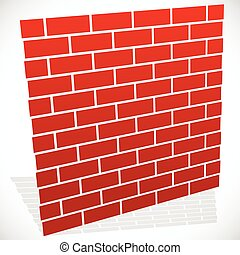 Wall in perspective Brickwall for construction, building or...