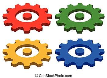 Gearwheel, rack wheel, gear icon, sign. Service,...
