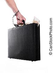 dinero, mano, maleta