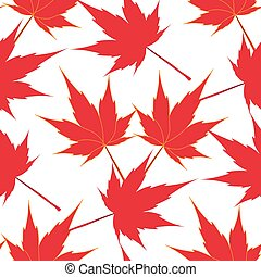 Red maple leaves. Seamless pattern. Japanese symbolism....