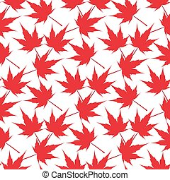 Red maple leaves. Seamless pattern. Canada. Japanese...