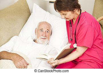 hogar, Caregiver-, historia, tiempo