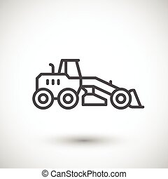 Road grader line icon isolated on grey Vector illustration