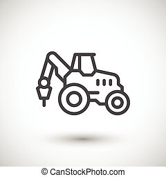 Industrial tractor line icon