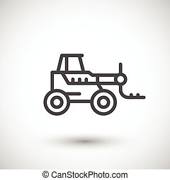 Forklift telescopic loader line icon isolated on grey....