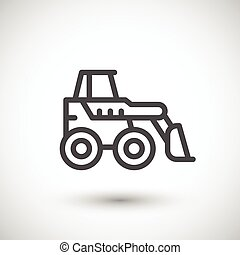 Mini earth mover line icon isolated on grey. Vector...