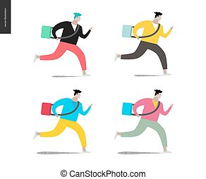 Young man running with a bag in four colors. Flat vector...