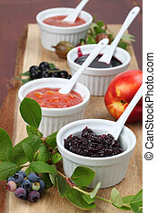 Selection of jams - Blueberry, nectarine, black currant and...
