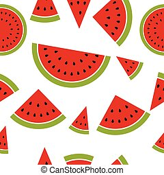 Watermelon seamless pattern made from pieces and segments...