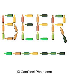 Green Brown Glass Beer Bottles Isolated on White Background.