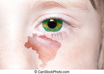 human's face with national flag and map of brazil. concept