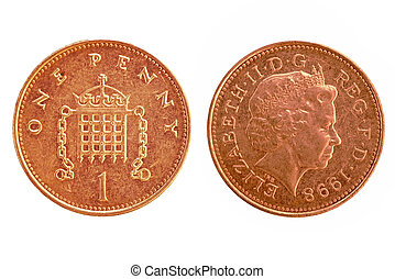 UK penny - Both front and back isolated on white