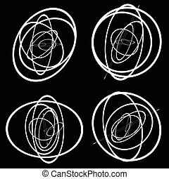 Random circles, ovals forming squiggly lines Abstract...