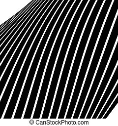 Distorted, warped lines geometric monochrome pattern. Black...