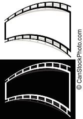 Film strip shape elements with distortion for photography...