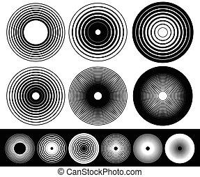 concéntrico, círculo, elementos, Conjunto, de,...