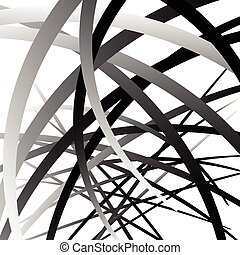 Overlapping random curved lines / shapes grayscale geometric...