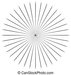 Circular radial, radiating lines element. Abstract rays,...