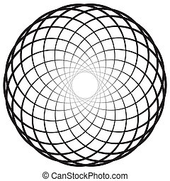 Circular geometric motif, element, Concentric circles...