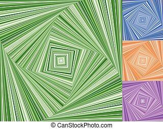 irregular, espirales, hecho, de, cuadrados, Girar, Girar,...