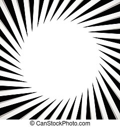 Black and white radial - radiating lines circular pattern