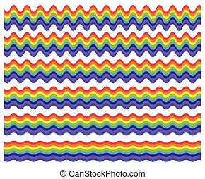 Horizontal rainbow element with different level of...