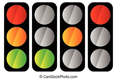 Simple traffic light traffic lamp icon set