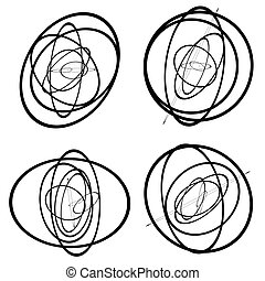 Random circles, ovals forming squiggly lines. Abstract...
