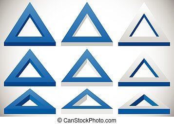 3d triangle shape in more colors set at different angles