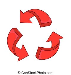 Red arrow recycling icon, cartoon style