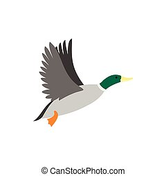 Duck icon, flat style - Duck icon in flat style isolated on...