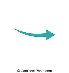 Curve arrow icon, flat style - Curve arrow icon in flat...