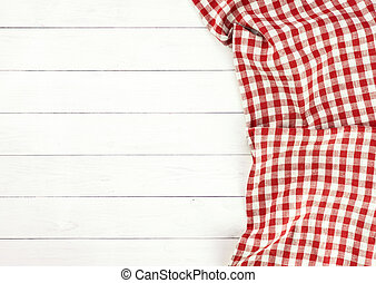 Red tablecloth on white wooden table - Red towel over wooden...