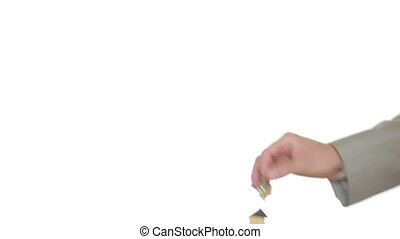 Man and woman hand passing keys in house. Transaction estate...