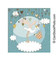 Baby arrival announcement card - A sweet stork flying with a...