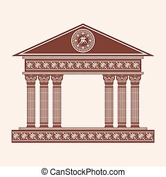 Vector Greek temple.