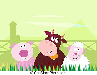 Cute Farm Animals - Farm animals - Pig, Cow and Sheep....