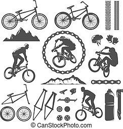 BMX Decorative Graphic Icons Set - BMX decorative graphic...