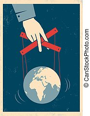 hand controls Earth - Vector illustration of a hand controls...