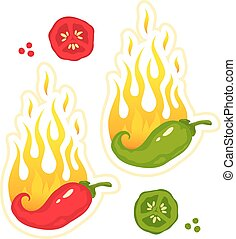 chili peppers in fire - Vector set illustrations of a hot...