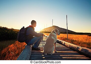 Man with dog on the trip in the mountains. Young tourist and...