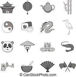 China icons set, black monochrome style