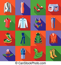 Woman clothes icons set, flat style - Woman clothes icons...