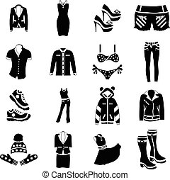 Woman clothes icons set, simple style - Woman clothes
