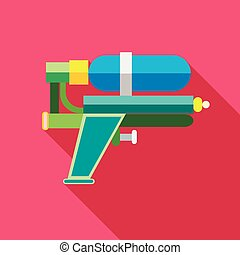 Water gun icon, flat style - Water gun icon in flat style...