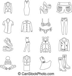 Woman clothes icons set, outline style - Woman clothes