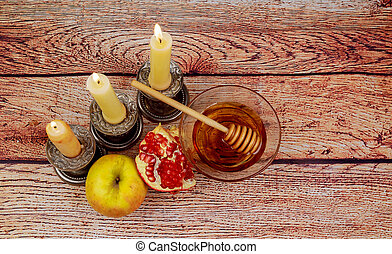 rosh hashanah jewesh holiday torah book, honey, apple and...