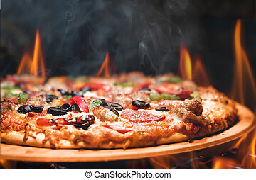 Wood Fired Pizza With Flames - Supreme meat and vegetable...
